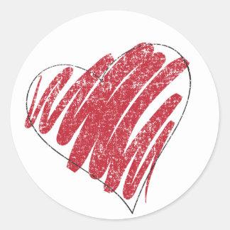 faded heart round sticker