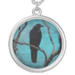 Faded Into The Aqua Blue Sky Round Pendant Necklace