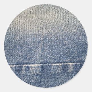 Faded Jeans / Denim Fabric Classic Round Sticker
