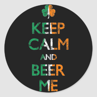 Faded Keep Calm And Beer Me St Patrick's Day Round Sticker