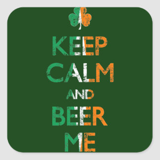 Faded Keep Calm And Beer Me St Patrick's Day Square Sticker