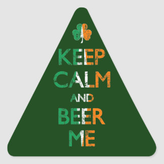 Faded Keep Calm And Beer Me St Patrick's Day Triangle Sticker