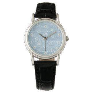 Faded light blue denim look with cute flowers watch