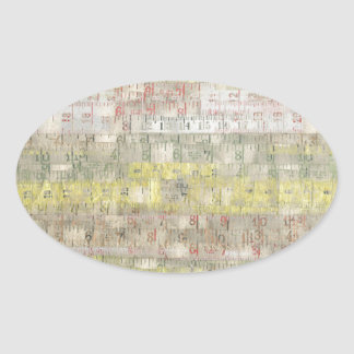 Faded Measuring Tape Background Oval Stickers