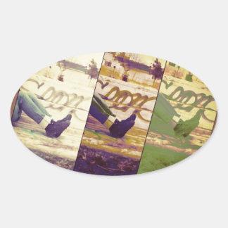 Faded Memories Oval Sticker