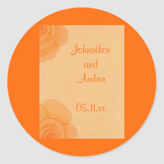 Faded Orange Roses, Wedding Save the date stickers