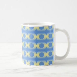 Faded pale yellow rings on blue classic white coffee mug