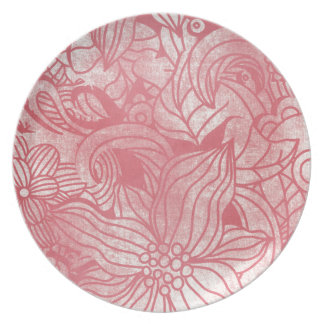 faded pink flowers collage dinner plate