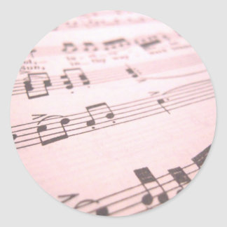 Faded Pink Sheet Music Round Sticker