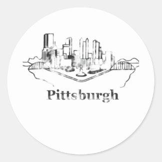 Faded Pittsburgh City Skyline Logo Classic Round Sticker