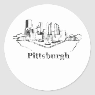Faded Pittsburgh City Skyline Logo Round Sticker