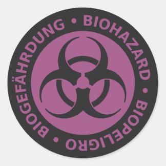 Faded Red Trilingual Biohazard Warning Round Sticker