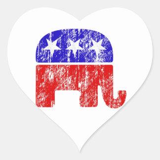Faded Republican Elephant Heart Sticker
