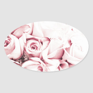 FADED ROSES OVAL STICKER