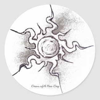 Faded Sun Classic Round Sticker