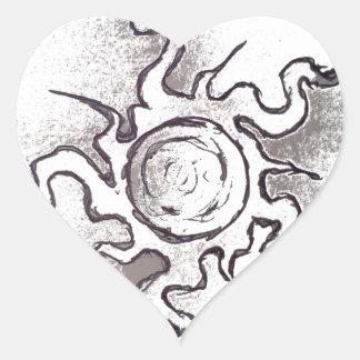 Faded sun heart sticker