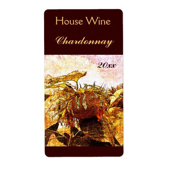 Faded sunflower wine bottle label