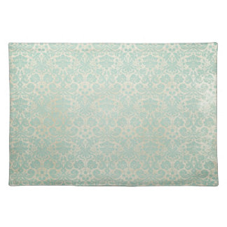 Faded Teal Damasks Pattern Place Mats