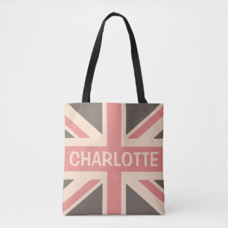 Faded UK British Personalized Union Jack Tote Bag