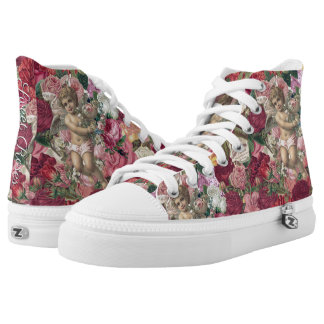 Faded Victorian Cherub and Roses Scrapbook Chintzy High Tops
