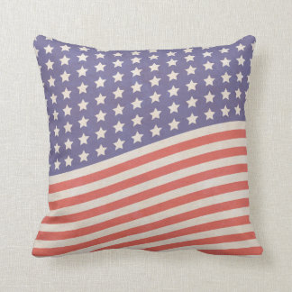 Faded Vintage American Flag Stars and Stripes Cushion