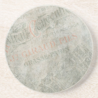 Faded Vintage Paper Parisian Advertisement Collage Beverage Coaster