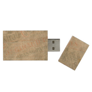 Faded Vintage Paper Parisian Advertisement Collage Wood USB 2.0 Flash Drive