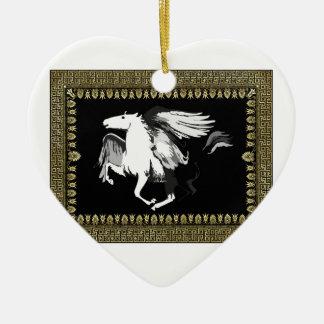 faded white hourse ceramic ornament