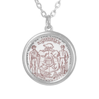 Faded Wisconsin Seal Silver Plated Necklace