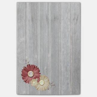 Faded Wood Maroon and Cream Flower Design Post-it® Notes