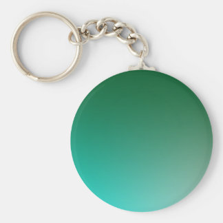 Fades: Dark Green and Light Blue Basic Round Button Key Ring