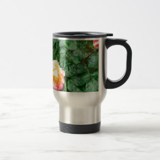 Fading autumn rose with droplets travel mug