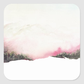 Fading mountains square sticker