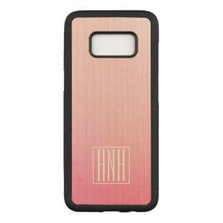 Fading Pinks Ombre Gradation & Your Initials Carved Samsung Galaxy S8 Case
