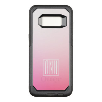 Fading Pinks Ombre Gradation & Your Initials OtterBox Commuter Samsung Galaxy S8 Case