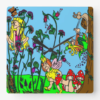 Faerie Garden Square Wall Clock