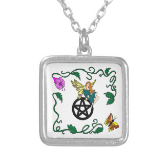 Faerie on a Penatcle Silver Plated Necklace