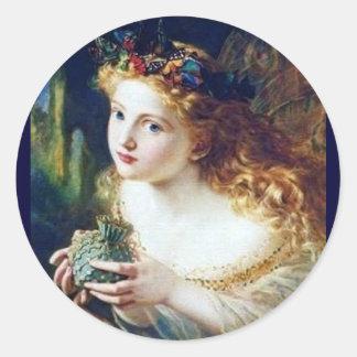 faery pixie magic fairy tale fantasy pretty girl classic round sticker