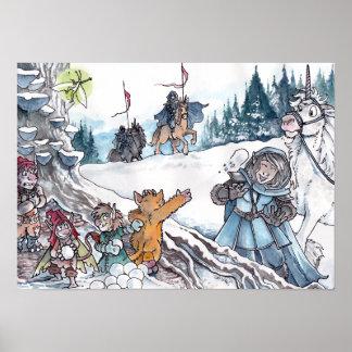 Faery Snowball Fight Print