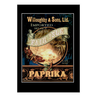 Fair Isle Paprika vintage Retro Print