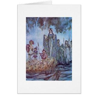 Fair Maiden with Children (Blank Inside) Card