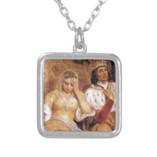 fair queen and king silver plated necklace