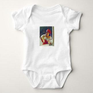 fair woman at window baby bodysuit