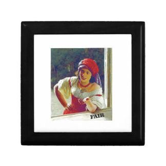 fair woman at window small square gift box