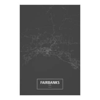 Fairbanks, Alaska (white on black) Poster