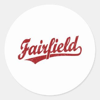 Fairfield script logo in red round sticker