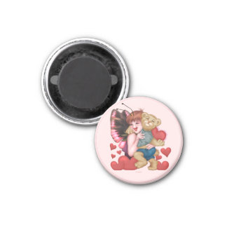 FAIRIE AND BEAR ROUND Magnet  Small, 1¼ Inch