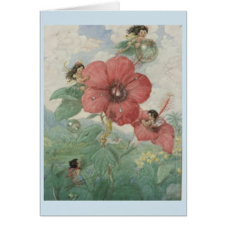 Fairies and Hibiscus Flowers, Card
