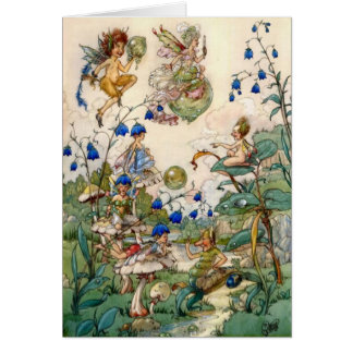 Fairies & Bubbles in a Garden, Card