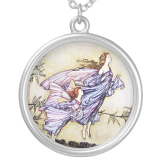 Fairies in the Trees Round Pendant Necklace
